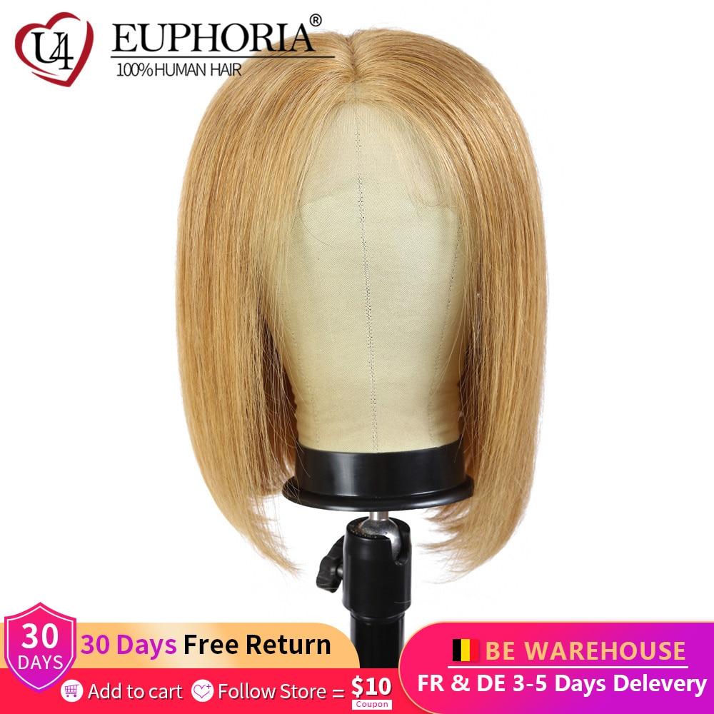 13x4 perucas dianteiras do laço em linha reta loira 27 perucas de cabelo humano marrom curto bob laço frontal perucas peruano remy cabelo parte do meio eufori
