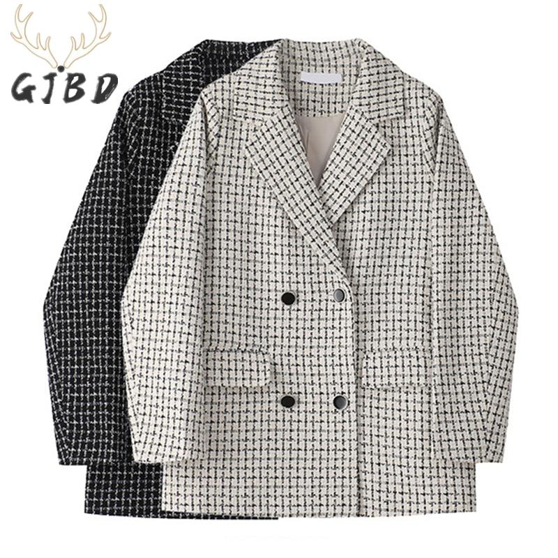 Женские блейзеры, пальто, осень 2021, повседневные топы, офисные женские Мешковатые куртки в Корейском стиле, модные дизайнерские куртки в кле...