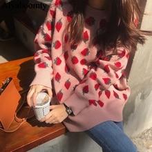 Japonais Harajuku automne hiver femmes épais pull rose jaune fraise surdimensionné tricoté pull Streetwear chaud vêtements dextérieur