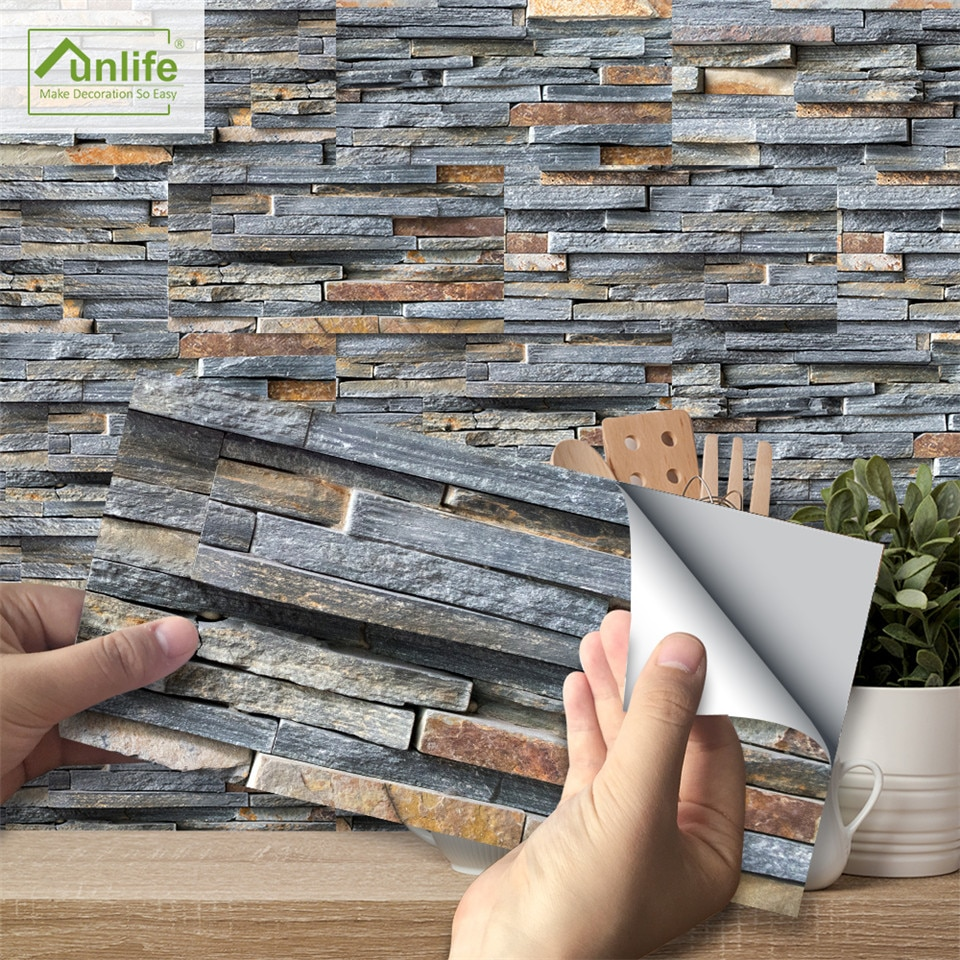 Pegatinas de piso en 3D de ladrillo simulado, calcomanías de suelo impermeables, papel pintado de vinilo grueso adhesivo para la decoración de la pared de la cocina