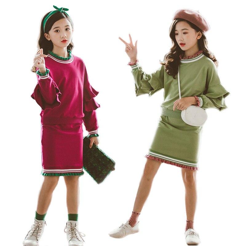 Однотонные кружевные комплекты одежды для девочек с лепестками, костюмы для девочек, 2019 Блузы с рукавами «фонарик» + юбка, костюм из 2 предме...