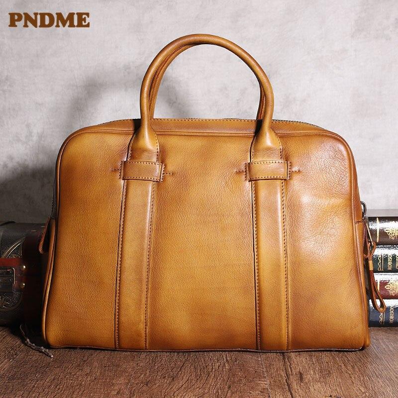 Maleta de Negócios dos Homens de Luxo Pndme Vintage Genuineleather Real Couro Escritório Advogado Trabalho Grande Capacidade Portátil Bolsa