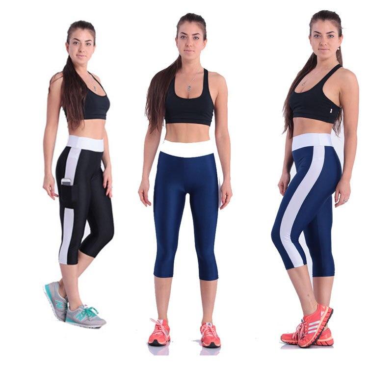 New Capris side pocket high waist Yoga Pants women Fitness Calf-length elastic sports Leggings women
