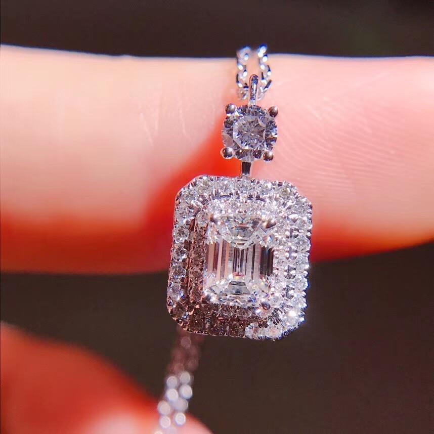 Aeaw vender como 0.51ct quente 18k ouro branco classe superior senhora moda esmeralda corte diamante pingente colar para mulher