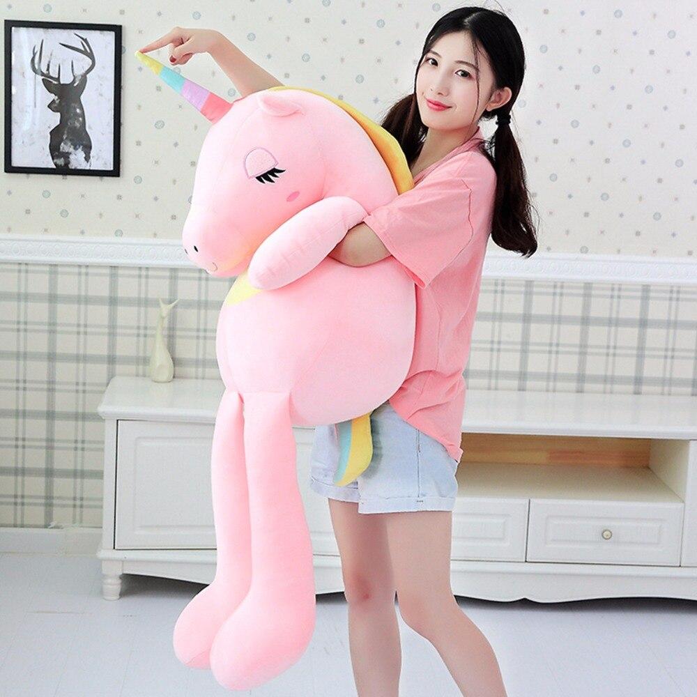 Huggable New Large Unicorn plush toys cute rainbow horse soft doll stuffed animal best for children girl gift christmas