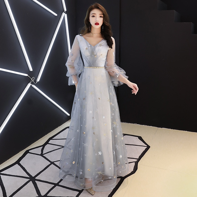 Silver Formal Evening Dress 2019 New Fashion Illusion Three Quarter Sleeve V-neck a Line Prom Party