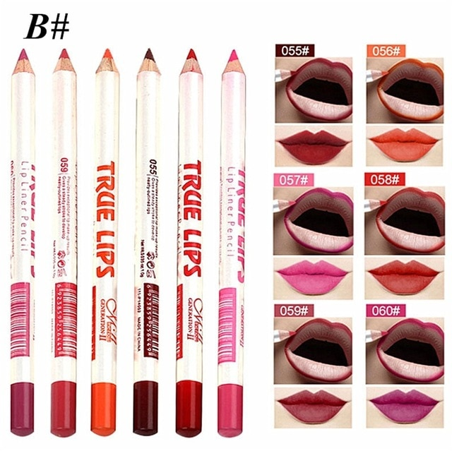 6pcs Set Cosmetic Professional Wood Lipliner Waterproof Lady Charming Lip Liner Soft Pencil Contour Makeup Lipstick Tool Lip Liner Aliexpress