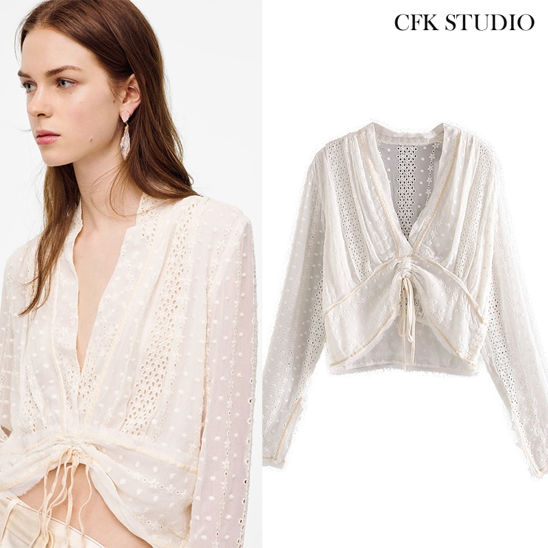 Za blusa feminina chiffon com bordado floral camisa de manga longa femme elegante casual solto creme topo