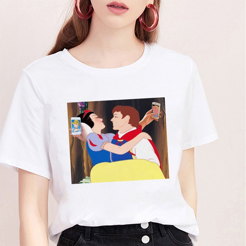 Snow White Fun camiseta de moda para mujer, camiseta de personalidad, camiseta de verano Harajuku estética de manga corta, Tops blancos, camiseta femenina