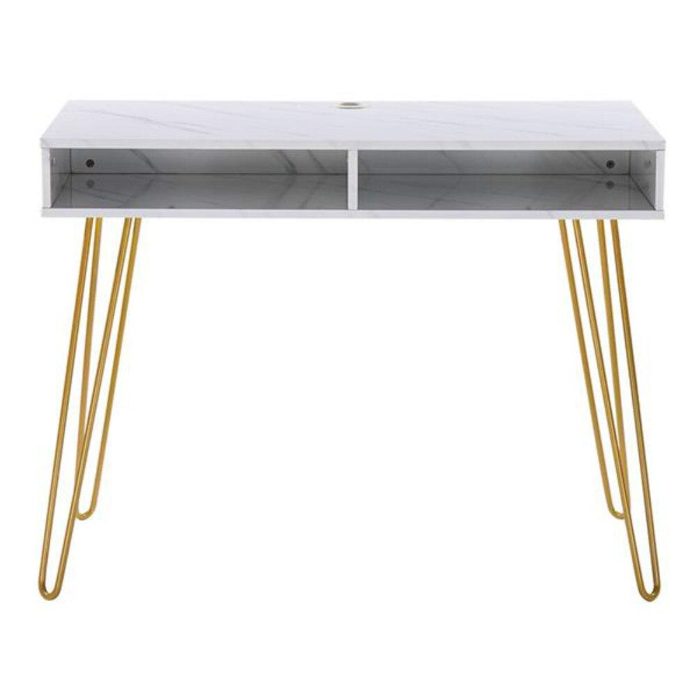 Table dordinateur Table détude avec marbre fer pied blanc [103x55x80cm] entrepôt américain