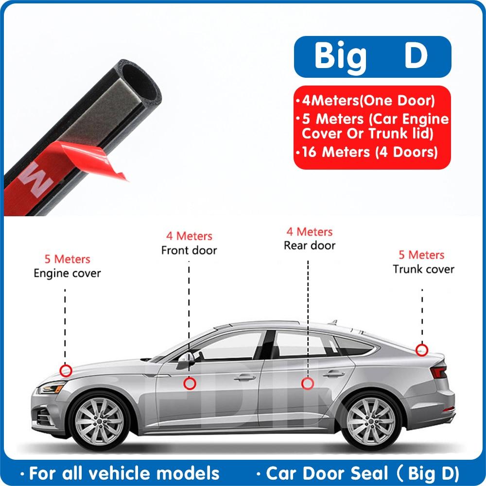 Car Rubber Door Seal Big D Type Universal Noise Insulation Epdm Strip Waterproof Seals For Auto