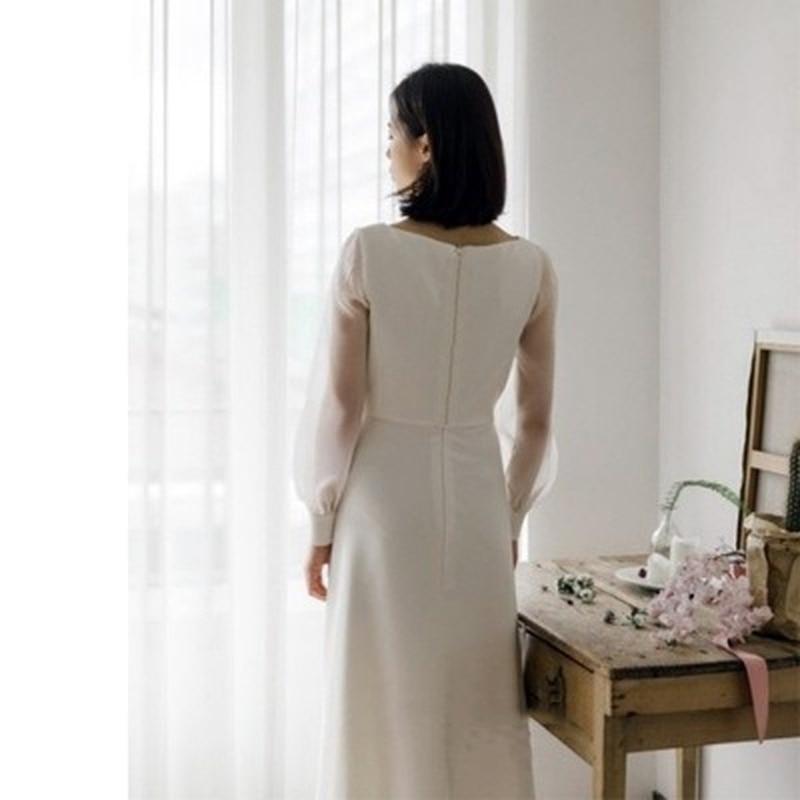 21 luxury design high-end fashion Satin banquet dress temperament long sleeve white dress sexy elegant slim French wedding dress