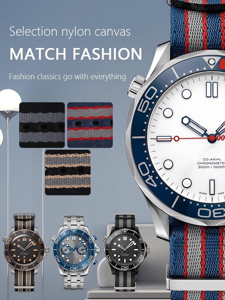 Listra lona náilon pulseira de relógio universal para mar mestre 300 bond calibre pulseira acessórios 20mm 19mm zulu nato 007