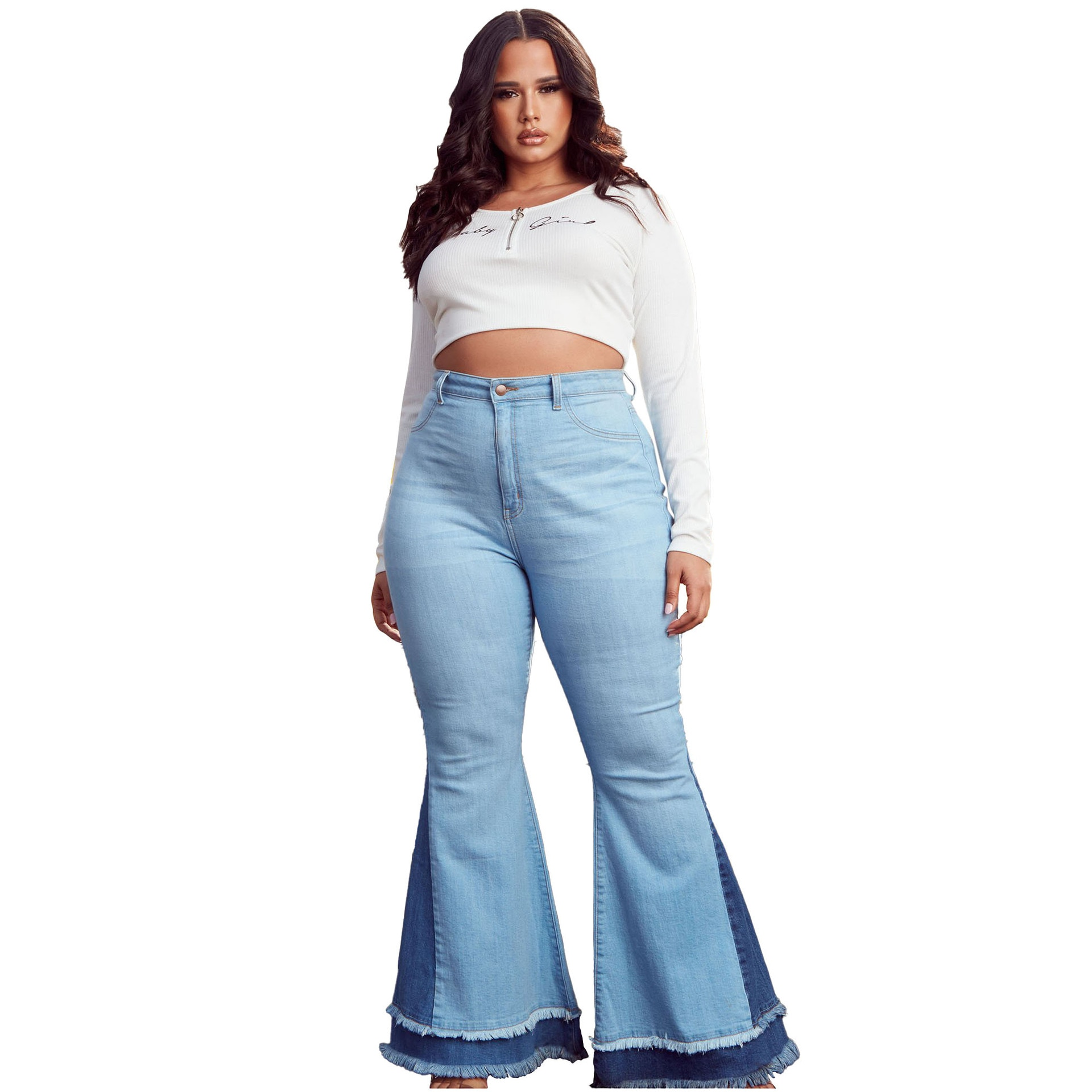 Универсальные широкие брюки-клеш, узкие Стрейчевые брюки-клеш с цветными блокировками, синие джинсы в стиле пэчворк, женские брюки