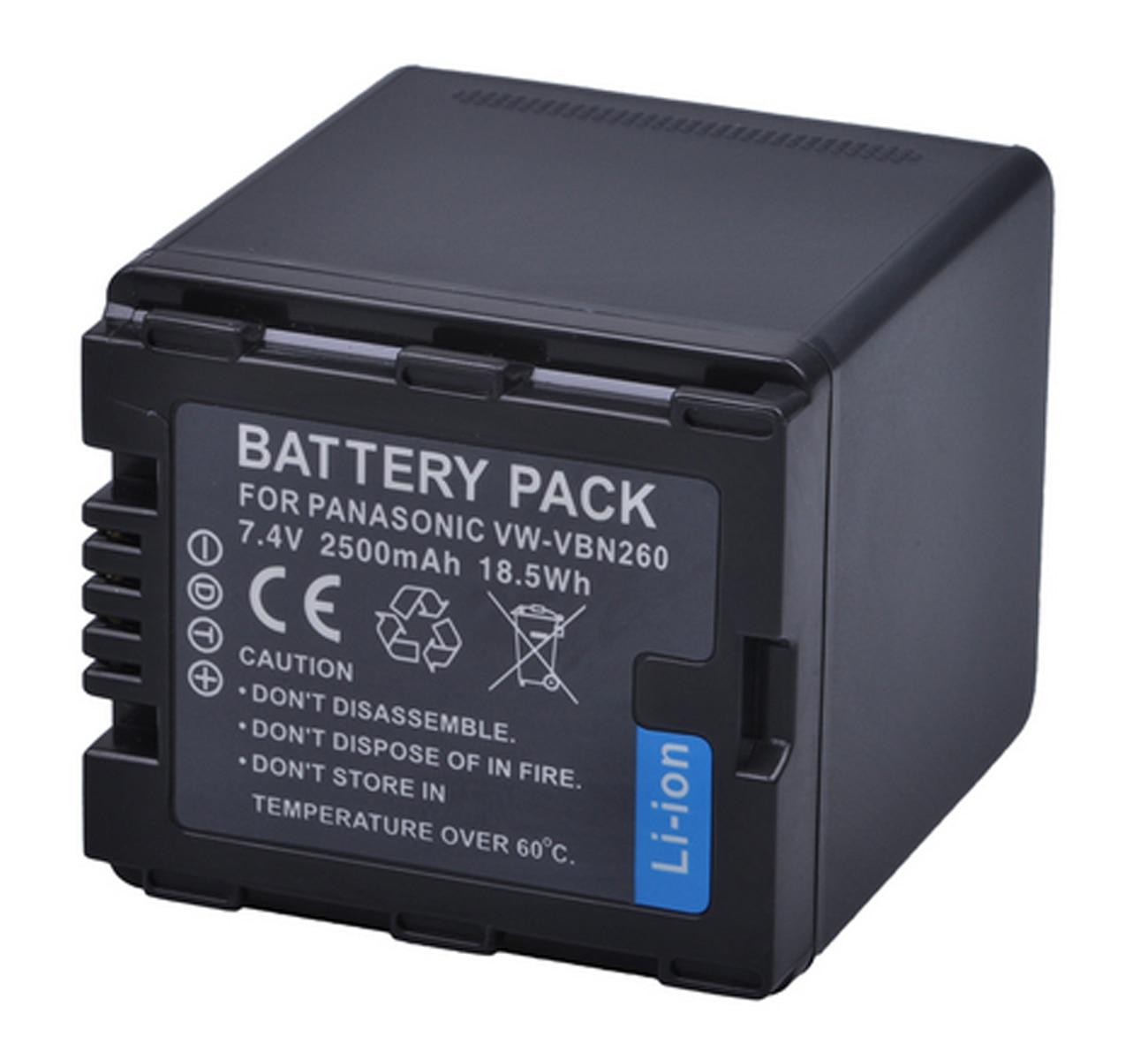 Paquete de baterías recargables de iones de litio para Panasonic VW-VBN130, VW-VBN260, VW-VBN260E, VW-VBN260E-K, VW-VBN390