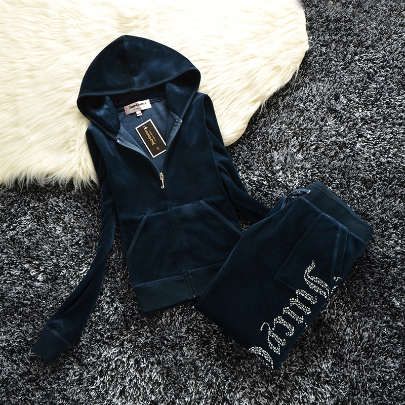 Spring/Fall 2021 Women's Brand Velvet Fabric Tracksuits Velour Suit Women Track Suit Hoodies And Pants fat sister sportswear