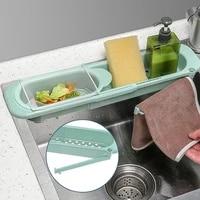 adjustable dish drainer sink drain basket washing vegetable fruit plastic creative drying rack kitchen accessories organizer set