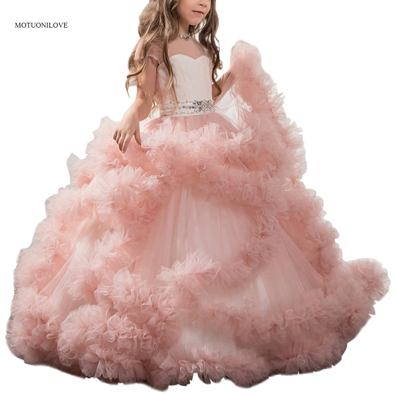Elegant Ruffles Crystals Bling Sheer Neck Long Girl Dress Party Christmas Kids Evening Formal for Bridesmaid Wedding