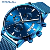Relogio Masculino CRRJU חדש למעלה מותג יוקרה שעון זכר אופנה מזדמן קוורץ שעון גברים של נירוסטה כחול עמיד למים שעון