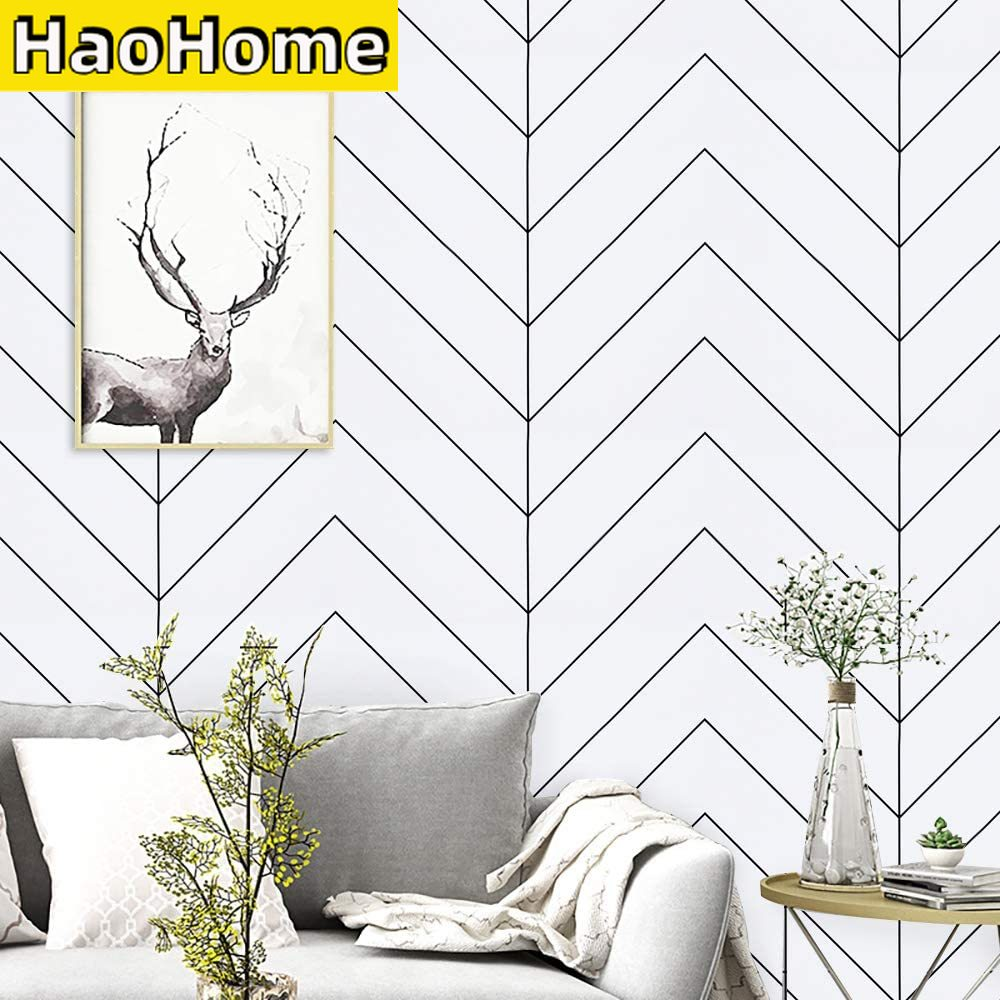 AliExpress - HaoHome White and Black Geometric Contact Paper Black Stripes Peel and Stick Wallpaper Modern Removable Self Adhesive Wall Paper