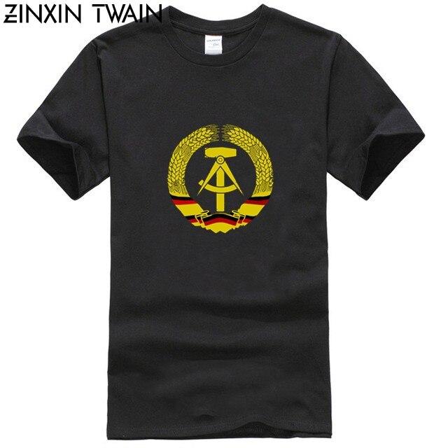 Bandera de la RDA con símbolo del martillo socialista, Logo de Alemania del Este 2019, nuevas camisetas informales de algodón de estilo Hip Hop
