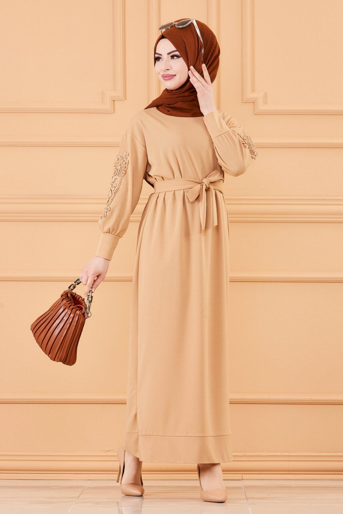 TUGBA فستان مسلم دانتيل تفاصيل بيج أسود أرجواني اللون فستان مسلم رمز 2021 ثوب تركي حجاب ملابس صيفية