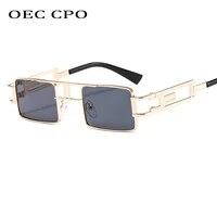 fashion rectangle sunglasses women men brand designer small shades black steampunk sunglasses for female eyewear uv400 o557