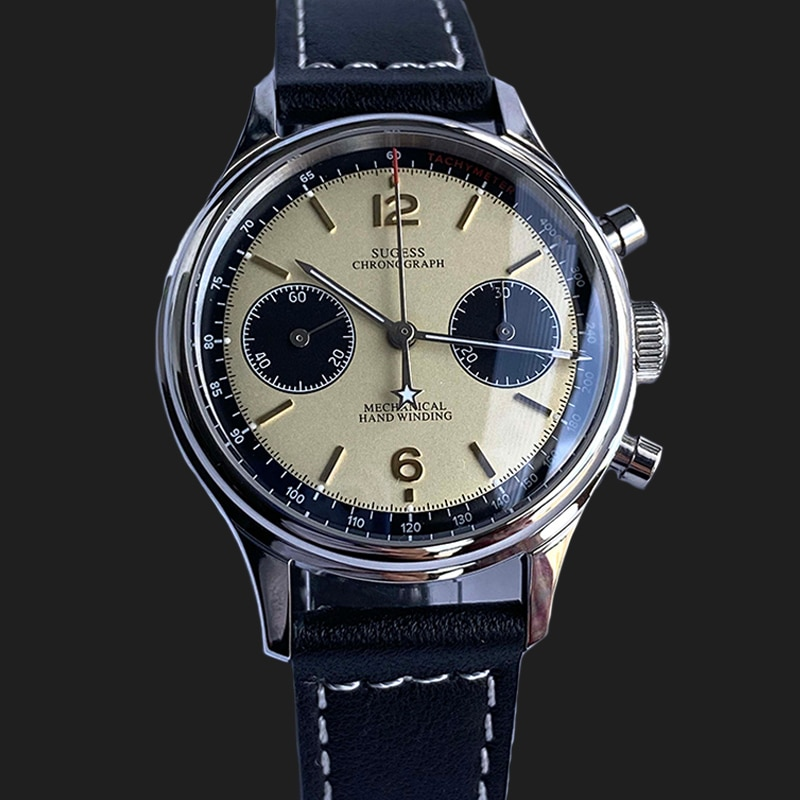 38mm 1963 Pilot Aviator Mens Watch Seagull Movement st1901 Chronograph Dial Sapphire Watch For Men L