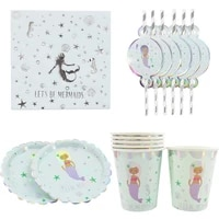 birthday decoration mermaid paper plate cup straw disposable tableware kids party girls party favor diy decorations supplie