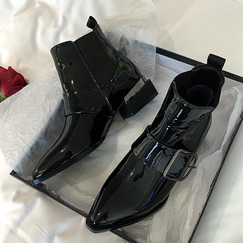 حذاء نسائي بكعب عالٍ ، حذاء أنيق بكعب عالٍ أسود 4 سنتيمتر A2937 ، لخريف وشتاء 2020