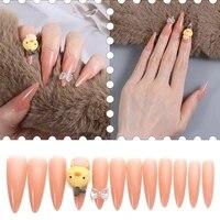 24pcs beauty fashion yellow duck false nails long paragraph jelly gum fake nail full cover nail art