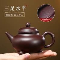 sand pot yunhai yixing raw mine purple eggplant mud purple sand pot all manual famous three foot level teapot goods
