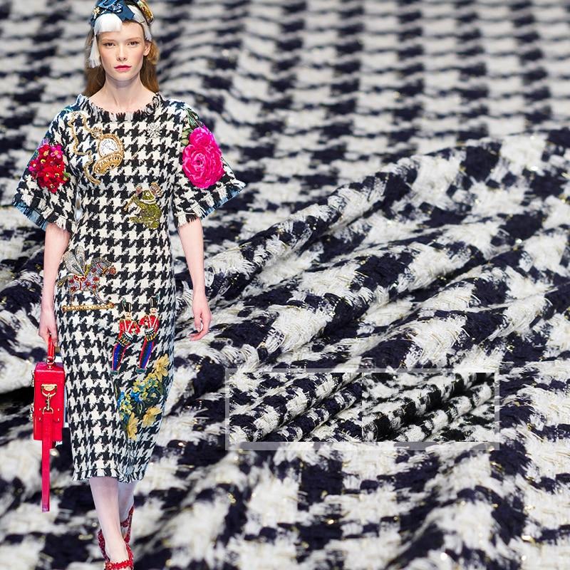 Chaqueta de otoño Pearlsilk Francia Lurex Houndstooth, tela de Tweed, trajes de vestir, accesorios para prendas de vestir, medidor de tela de costura, envío gratuito