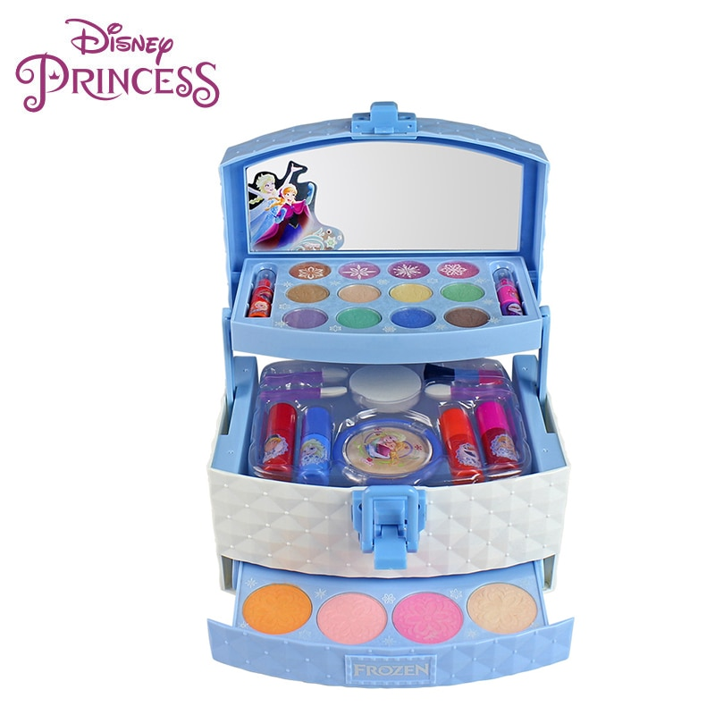 32pcs/set Disney Three-layer Makeup Case Toy Set Mini Portable Play Ice Princess Girls Cosmetics Toy Lipstick for Children Kids