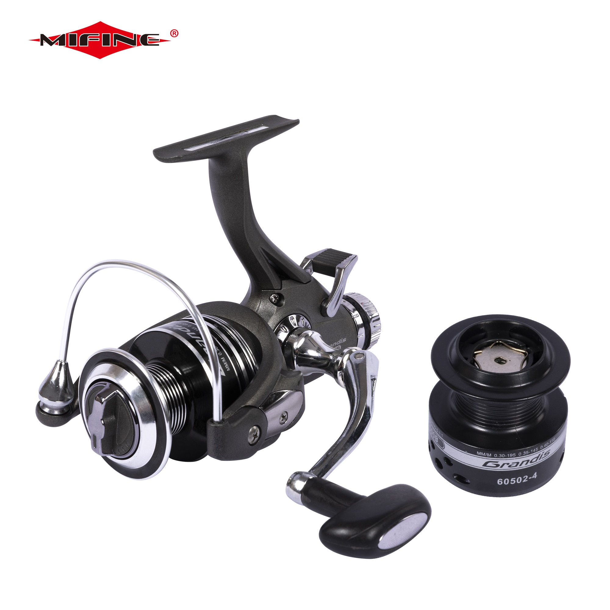 MIFINE Grandis Double Brake 10KG  Fishing Reel With Extra Spool Front Rear Drag System Gear Ratio 5.1:1 Carp Spinning Reel sougayilang carp fishing reel 13 1 bb spinning reel with free spool aluminum body 5 0 1 gear ratio fishing reel for carp fishing