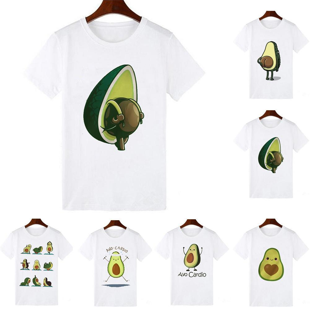 2020 New Summer Kawaii Cute Cartoon Avocado Print Short Women Casual Female Tops Harajuku Sleeve T-shirt Clothes T-shirt Gr O9Q0