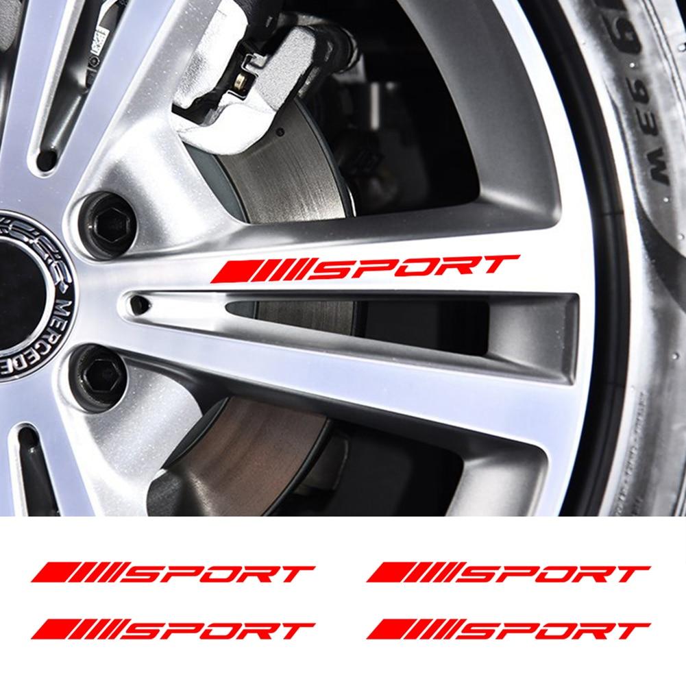 4 шт. автомобильные наклейки колесные диски спортивные гоночные наклейки полосы Декоративные автомобильные наклейки внешний Стайлинг авто...