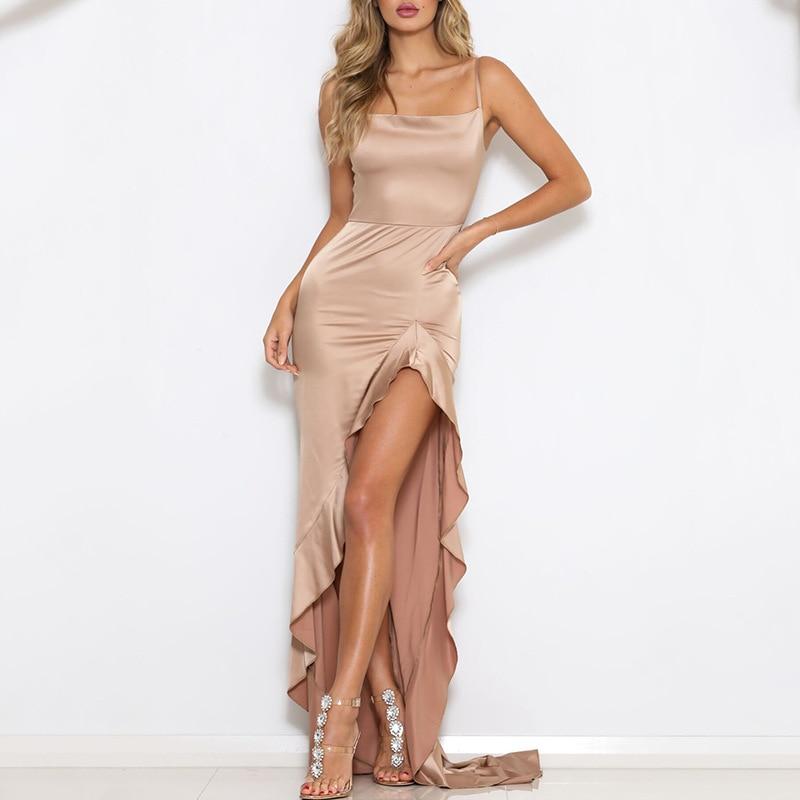 casual Sling halter side slit fabrics for luxury dresses elegante ladies prom party evening dresses