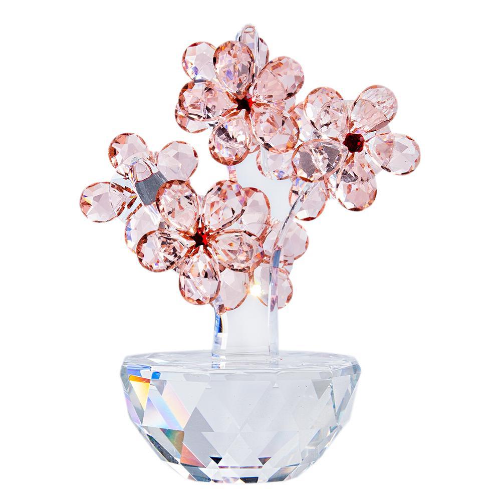 H & d cristal ameixa flor estatueta sonhos de vidro flor paperweight ornamento lembrança unfading bouquet escultura decoração do casamento presente