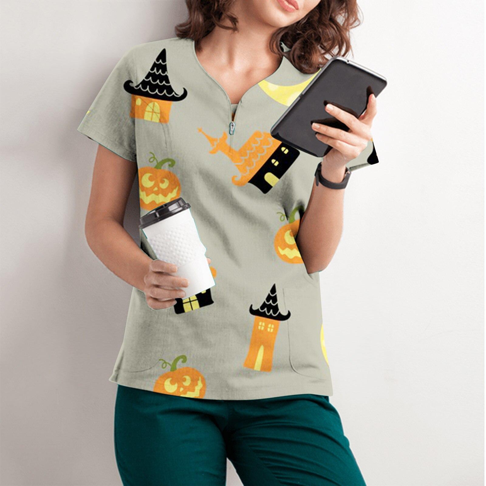 Camiseta con estampado De Halloween para Mujer, top De Manga corta con...