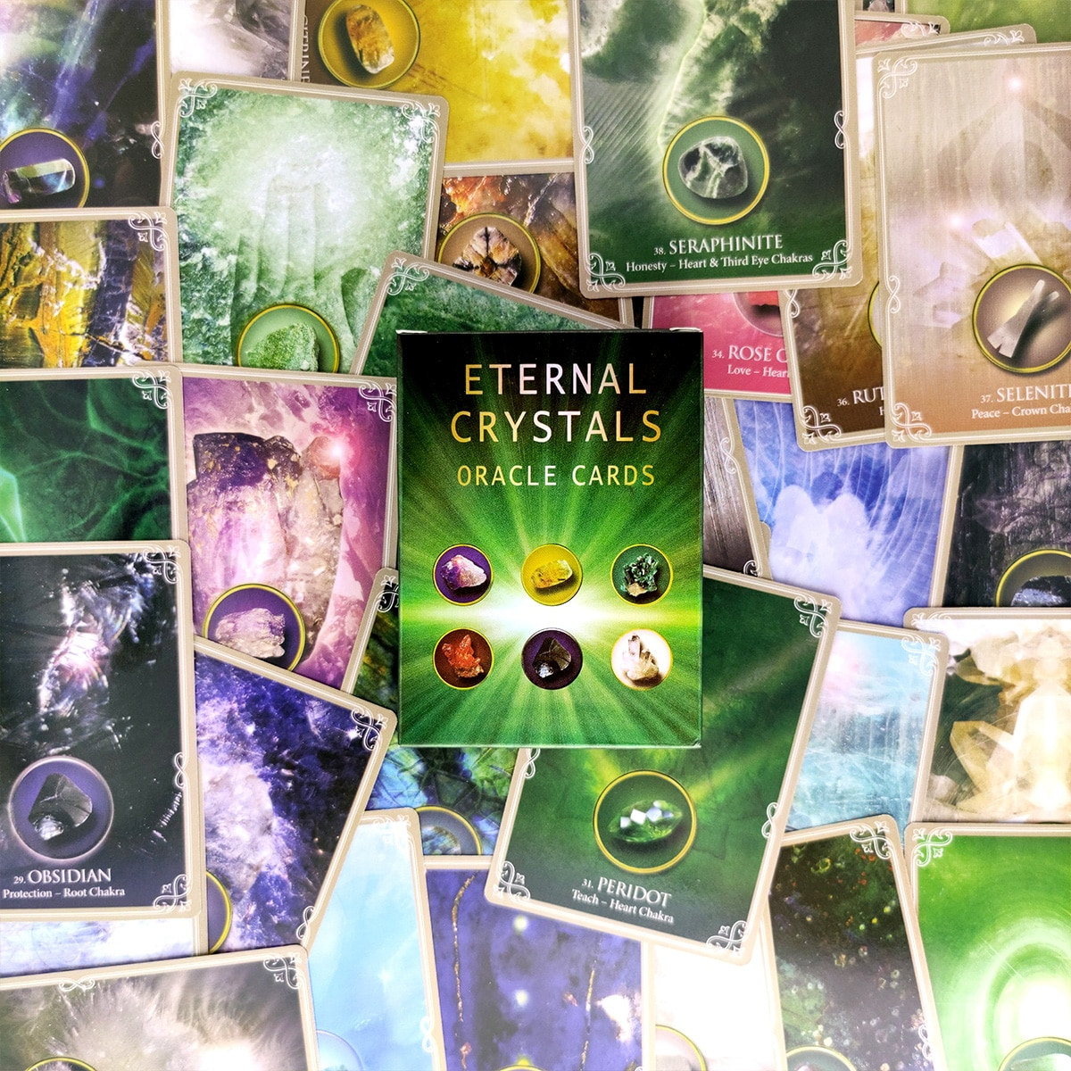 2021 New Tarot Cards Eternal Crystals Oracle Card And PDF Guidance Divination Deck Entertainment Parties Board Game 44 Pcs/Box