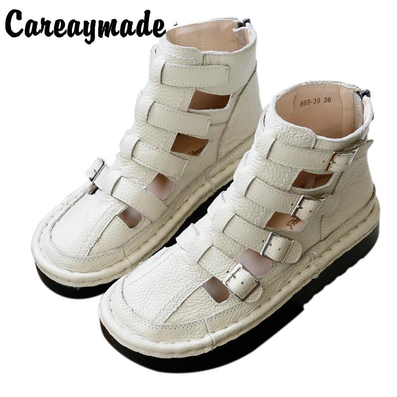 Care-صنادل مصنوعة يدويًا نقية ، أحذية مسطحة للفتيات موري ، أحذية جلدية سميكة القاع ، أحذية على الطراز الروماني الرائعة