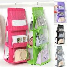 6 Pocke Hanging Handbag Organizer Dust-Proof Storage Holder Bag for Purse Clutch Hanging Organizer C