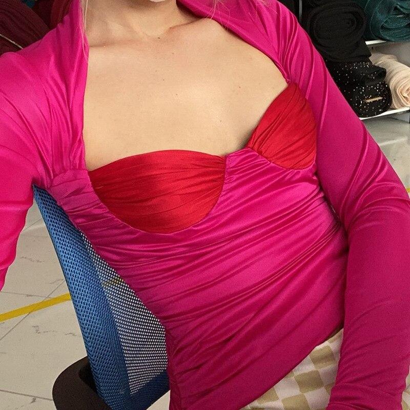 Женская приталенная футболка с длинным рукавом и квадратным вырезом