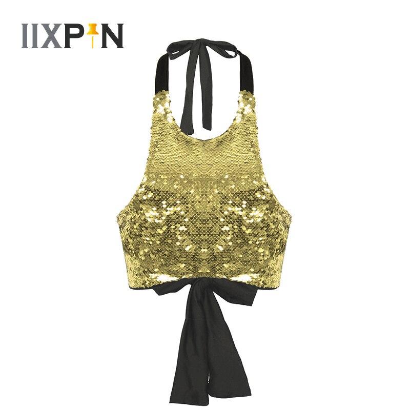 Damen Pailletten Jazz Dance Kostüm Crop Tops Halter Neck Backless Vordere Shiny Sparkle Slim Fit Abgeschnitten Weste Tank Tops Dancewear