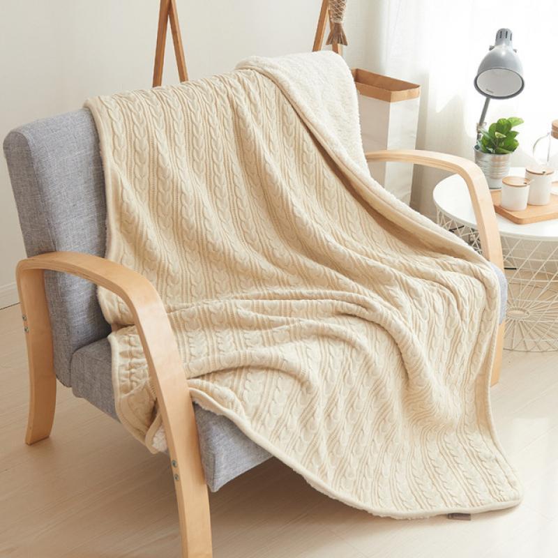 شتاء دافئ لينة شيربا بطانية موضة تصميم السفر لبس محبوك الصوف بطانية سميكة المفرش ل أريكة تتحول لسرير بطانية