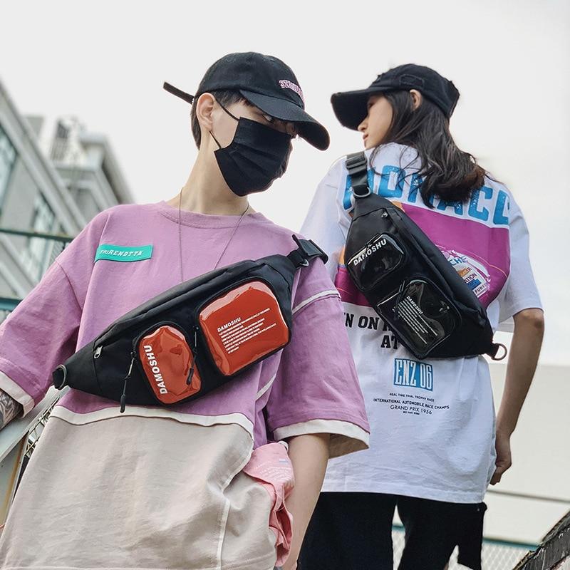 Riñoneras de diseñador para hombre riñonera de moda bolso de pecho para mujer de PVC Hip-hop tendencia genial funda de teléfono resistente al agua multiusos grande