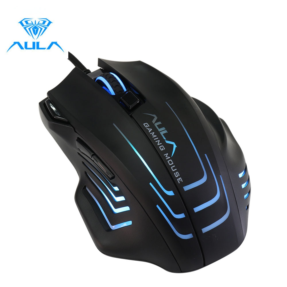 AULA S18 سلكي فأرة ألعاب بإضاءة خلفية برمجة 4000 ديسيبل متوحد الخواص قابل للتعديل 7 أزرار بصري ماوس يو اس بي مع مفاتيح النار لألعاب FPS