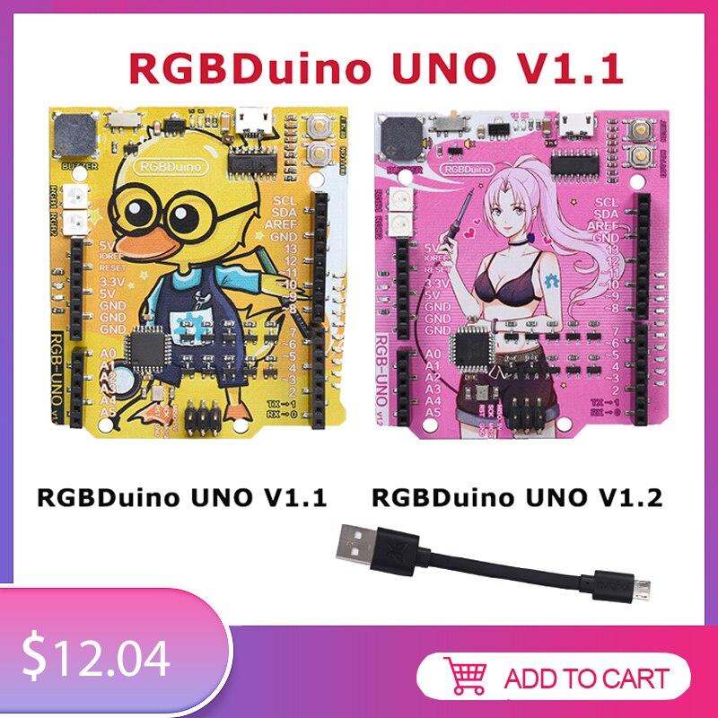 RGBDuino UNO V1.1/V1.2 Development Board ATmega328P Chip Micro Controller CH340C VS Arduino UNO R3  For Raspberry Pi 4 Pi 3