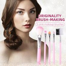 5pcs Makeup Brush Set Plastic Short Rod Makeup Brush Blush Eye Shadow Eyebrow Brush Beauty Makeup Co